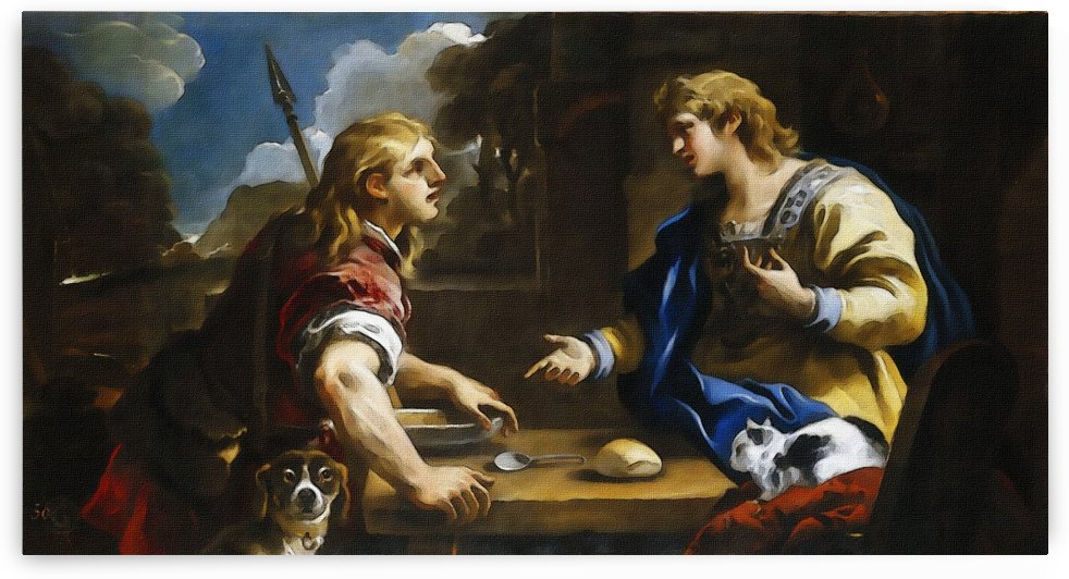 Esau y Jacob El cambio de la primogenitura by Luca Giordano by Classic Painting