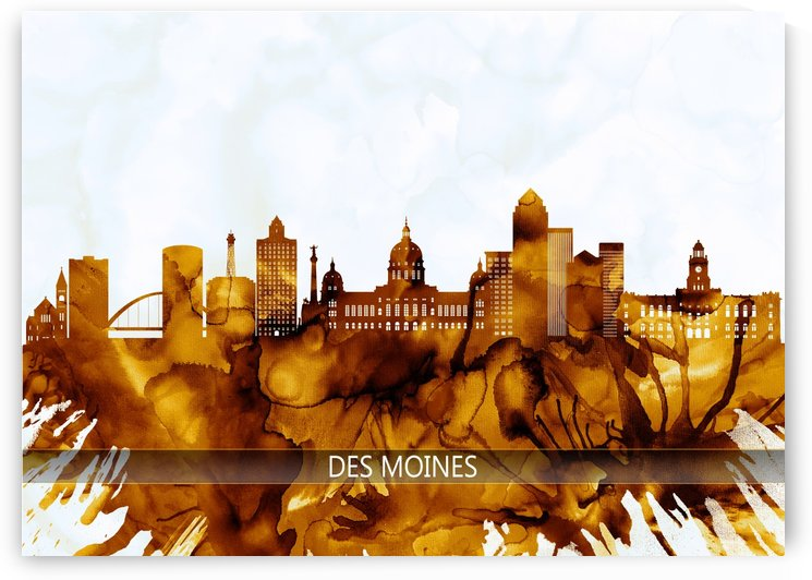 Des Moines Iowa Skyline by Towseef