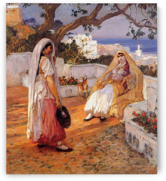 Two women on the terrace by Frederick Arthur Bridgman