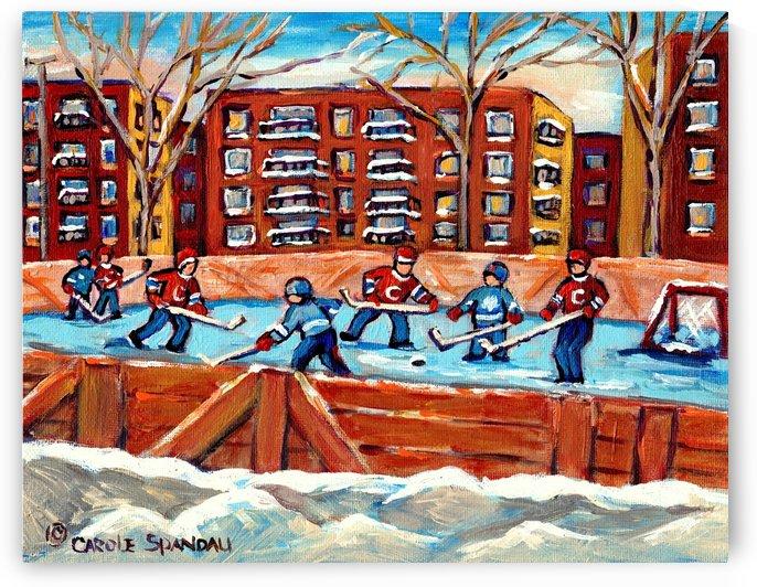OUTDOOR HOCKEY RINK MONTREAL WINTER SCENE CANADIAN PAINTING CAROLE SPANDAU by Carole  Spandau