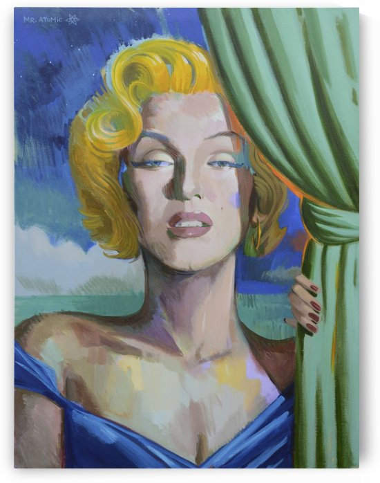 Pillow Case Blonde Marilyn Monroe by Mr  Atomic Art
