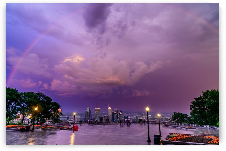 Rainbow over downtown Montreal by RezieMart