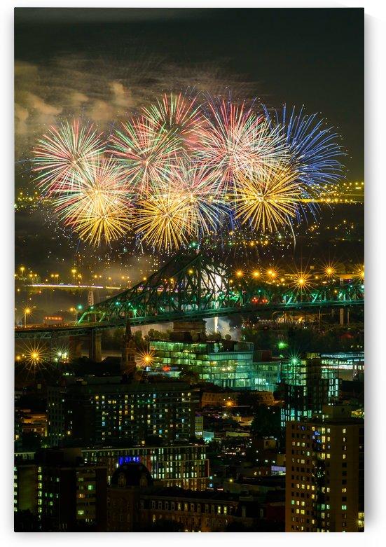 Fireworks over Jacques cartier bridge Montreal by RezieMart
