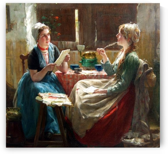 Writting letters by Edward Antoon Portielje