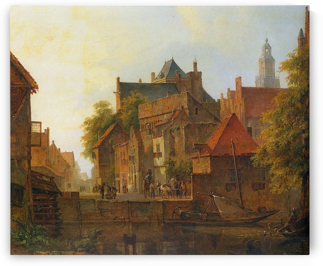 View of a town with a blacksmith at work on a quay by Kasparus Karsen