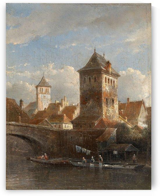 Ansicht einer Stadt am Fluss mit Wascherinnen by Kasparus Karsen