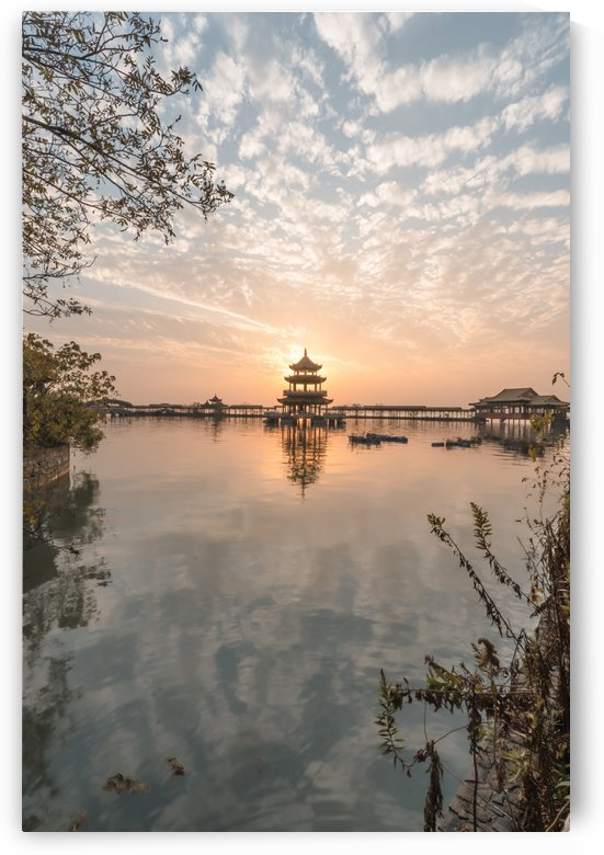 Abandoned Lake Park Sunset Pagoda Temple by Steve Ronin