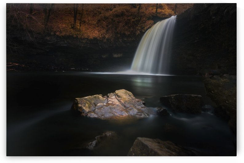 Moody Sgwd Gwladus waterfall by Leighton Collins