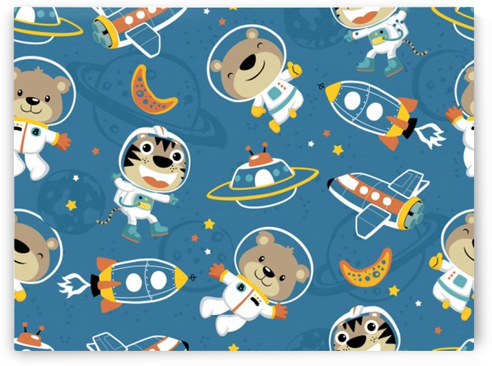 seamless pattern funny astronaut outer space transportation_ by Shamudy