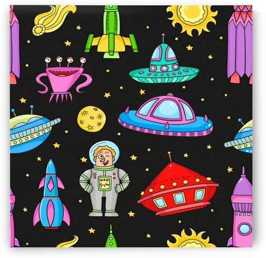 seamless pattern with space objects ufo rockets aliens hand drawn elements space by Shamudy