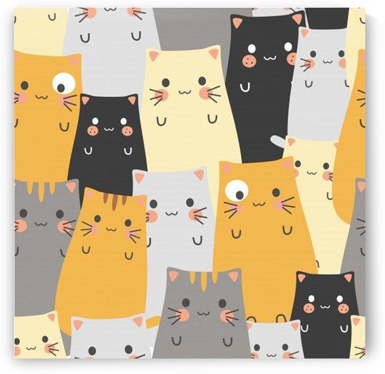 seamless pattern cute cat cartoons by Shamudy