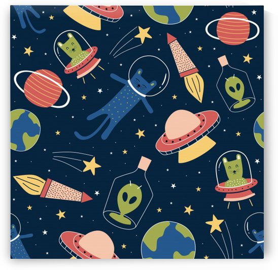 seamless pattern with funny aliens cat galaxy by Shamudy