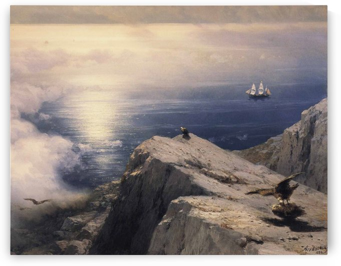 A Rocky Coastal Landscape in the Aegean Sea by Ivan Aivazovsky