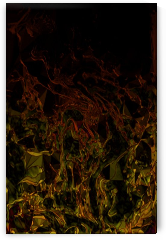 Shamanic Campfire - yellow-green gold red orange black gradient triangle swirl abstract wall art by Jaycrave Designs