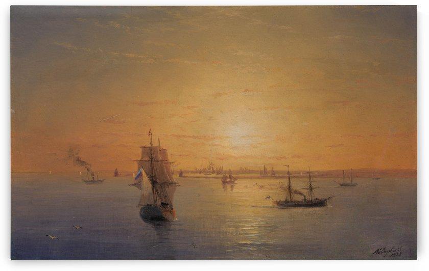 Russian Fleet at Sunset by Ivan Aivazovsky