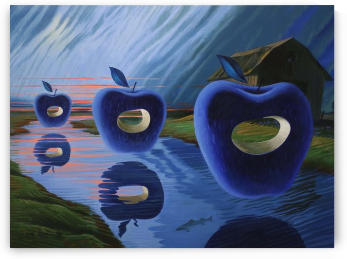 Three Floating Apples by Mr  Atomic Art