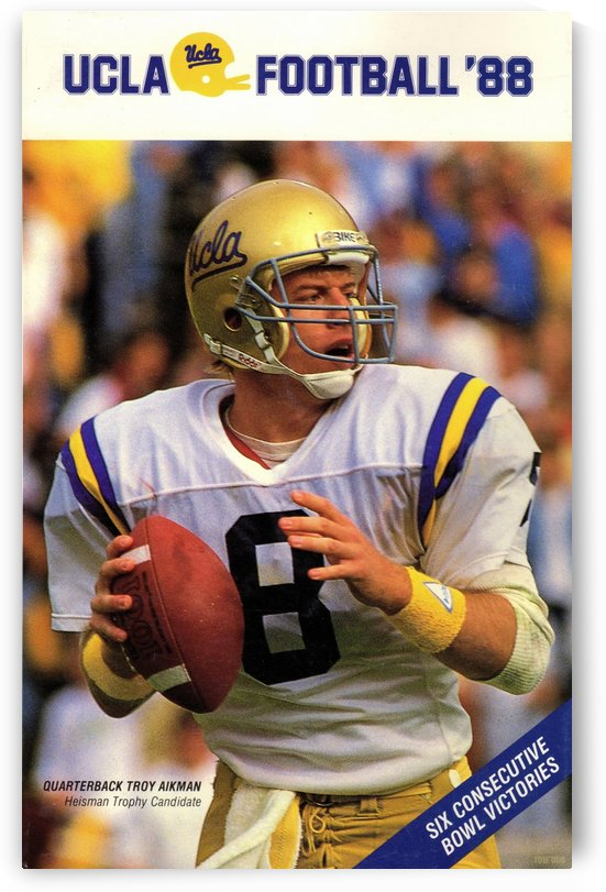 1988 Troy Aikman UCLA Football Poster by Row One Brand