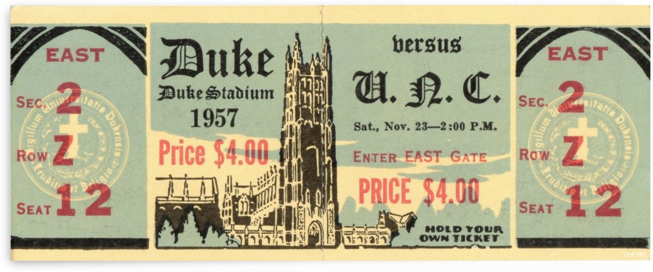 1957 North Carolina vs. Duke Blue Devils Football Ticket Art by Row One Brand