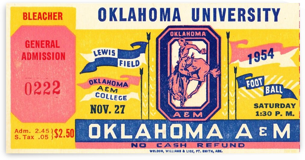 1954 Oklahoma vs. Oklahoma A&M by Row One Brand
