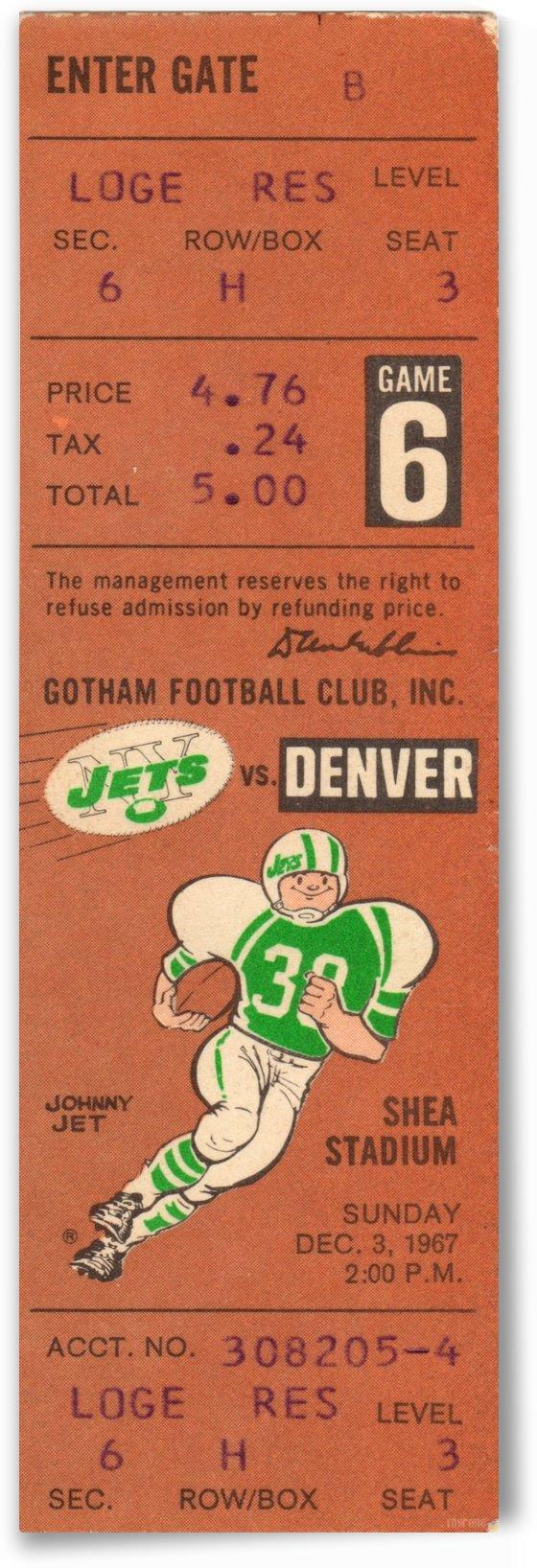 1967 Denver Broncos vs. New York Jets by Row One Brand