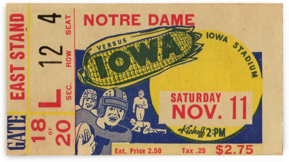 1939 Notre Dame vs. Iowa Football Ticket Stub Art by Row One Brand