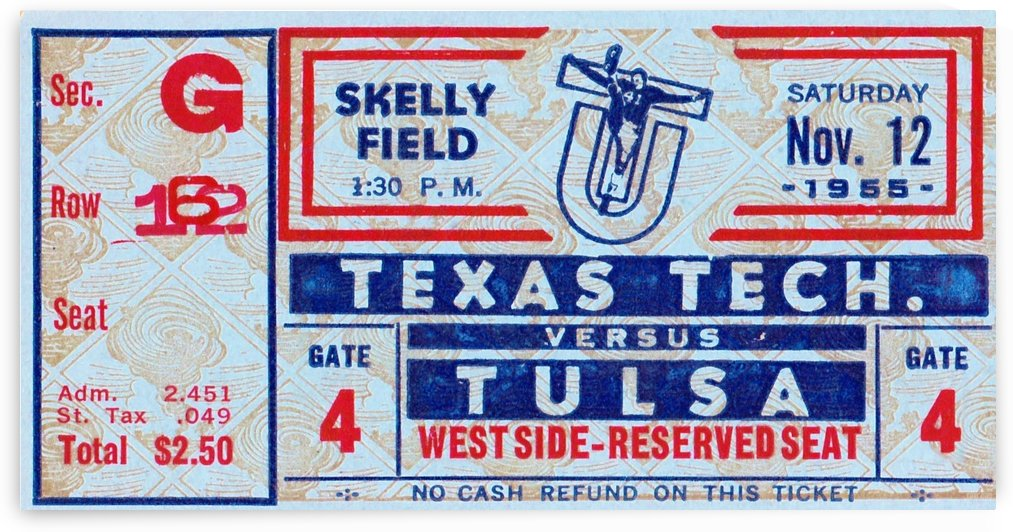 1954 Texas Tech vs. Tulsa by Row One Brand