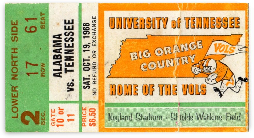 1968 Tennessee vs. Alabama by Row One Brand