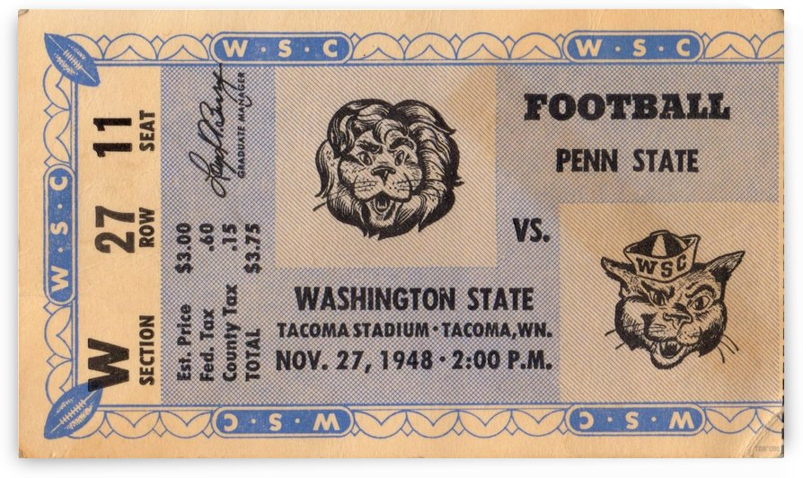 1948 Penn State vs. Washington State  by Row One Brand
