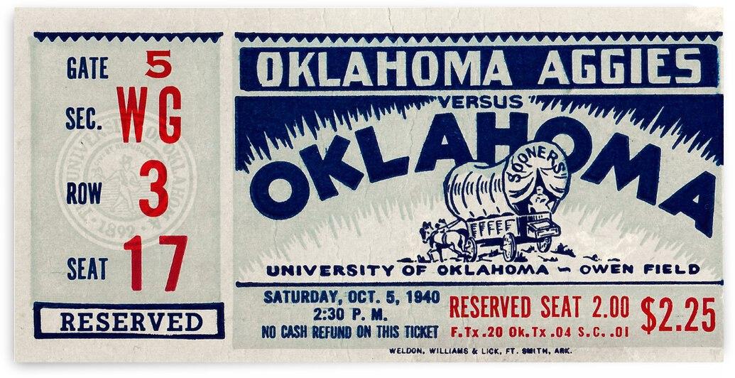 1940 Oklahoma A&M vs. Oklahoma Sooners Ticket Stub Art by Row One Brand