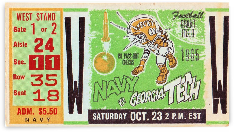 1965 Navy vs. Georgia Tech Ticket Stub by Row One Brand