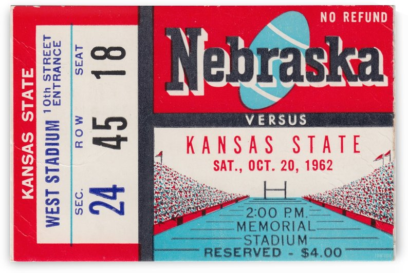 1962 Kansas State vs. Nebraska Cornhuskers Ticket Stub by Row One Brand