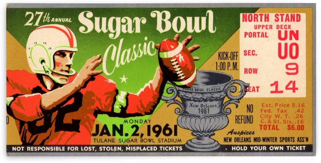 1961 Sugar Bowl Ole Miss National Champs by Row One Brand