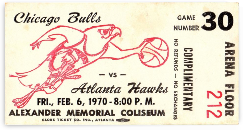 1970 Atlanta Hawks Ticket Art  by Row One Brand