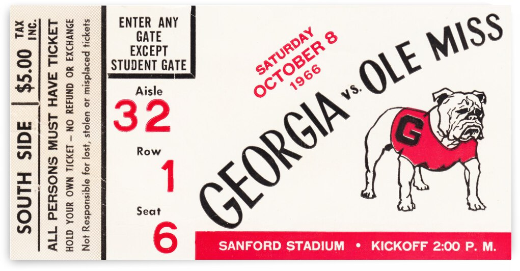 1966_College_Football_Ole Miss vs. Georgia_Sanford Stadium_Athens Georgia_Row One by Row One Brand