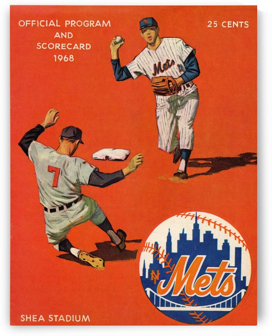 1968_Major League Baseball_New York Mets Scorecard_Shea Stadium_Queens New York_Row One by Row One Brand