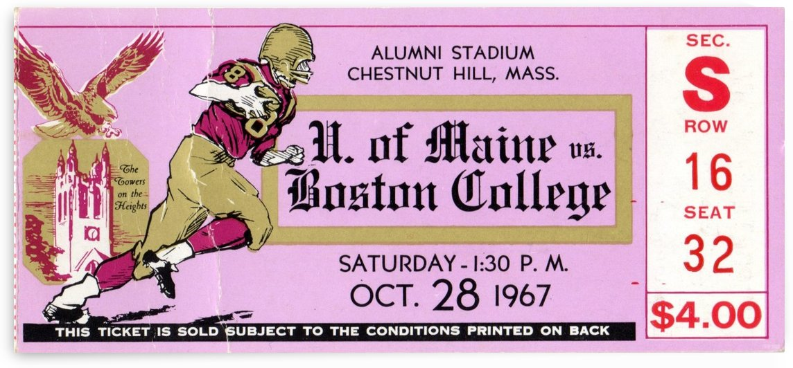 1967 Maine vs. Boston College Football Ticket Art by Row One Brand