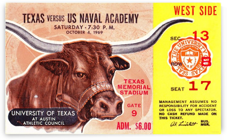 1969 Navy vs. Texas by Row One Brand