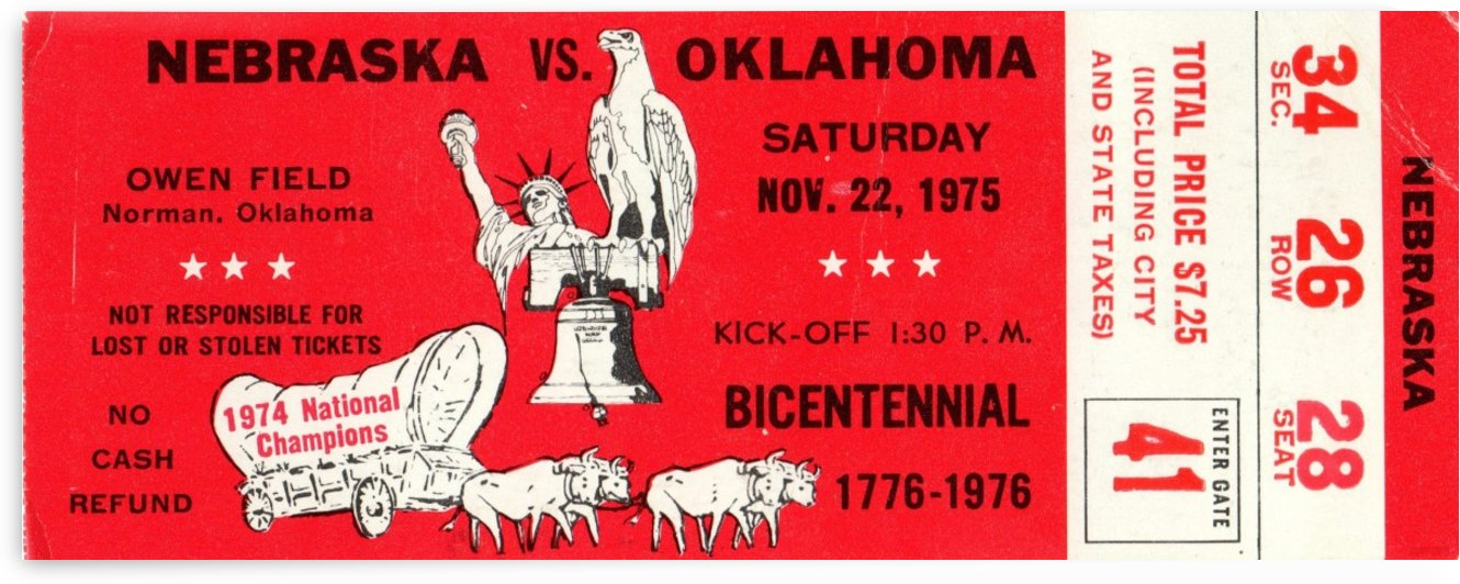 1975 Oklahoma vs. Nebraska by Row One Brand