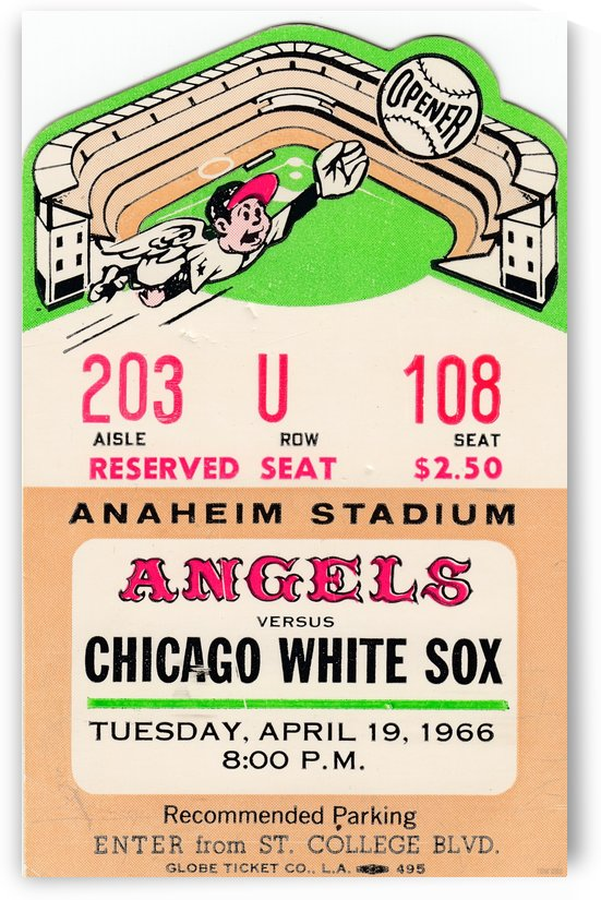1966 California Angels First Game in Anaheim Stadium by Row One Brand
