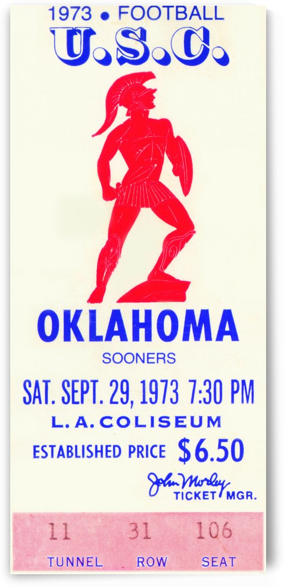 1973_College_Football_USC vs. Oklahoma_Los Angeles Coliseum_Row One by Row One Brand