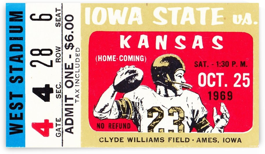 1969_College_Football_Kansas vs. Iowa State_Clyde Williams Field_Ames_Row One by Row One Brand
