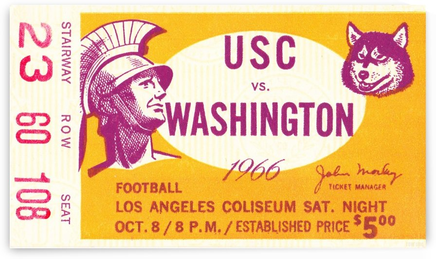 1966_College_Football_Washington vs. USC_Los Angeles Coliseum_Row One by Row One Brand