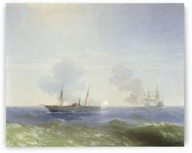 Battle of steamship Vesta and Turkish ironclad by Ivan Aivazovsky