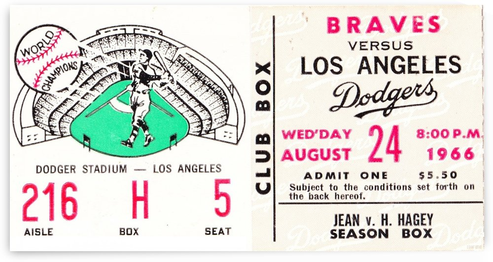 1966_Major League Baseball_Los Angeles Dodgers_Dodger Stadium_Row One by Row One Brand