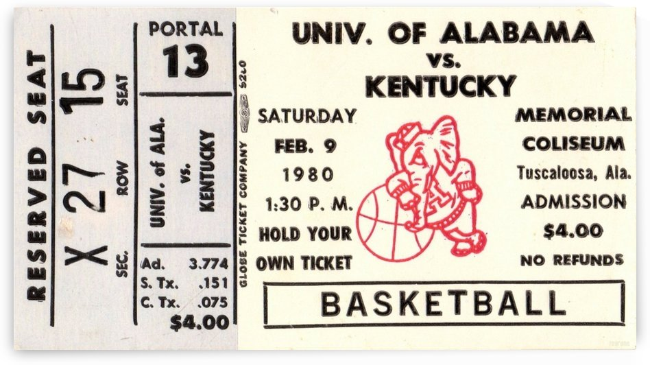 1980_College_Basketball_Kentucky Wildcats vs. Alabama Crimson Tide_Memorial Coliseum_Row One by Row One Brand