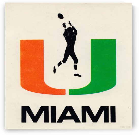1974 Miami Hurricanes Football Art by Row One Brand