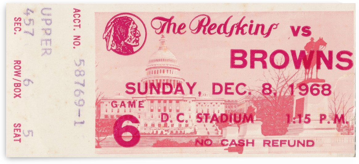1968_National Football League_Cleveland Browns vs. Washington Redskins_ D.C. Stadium_Row One by Row One Brand
