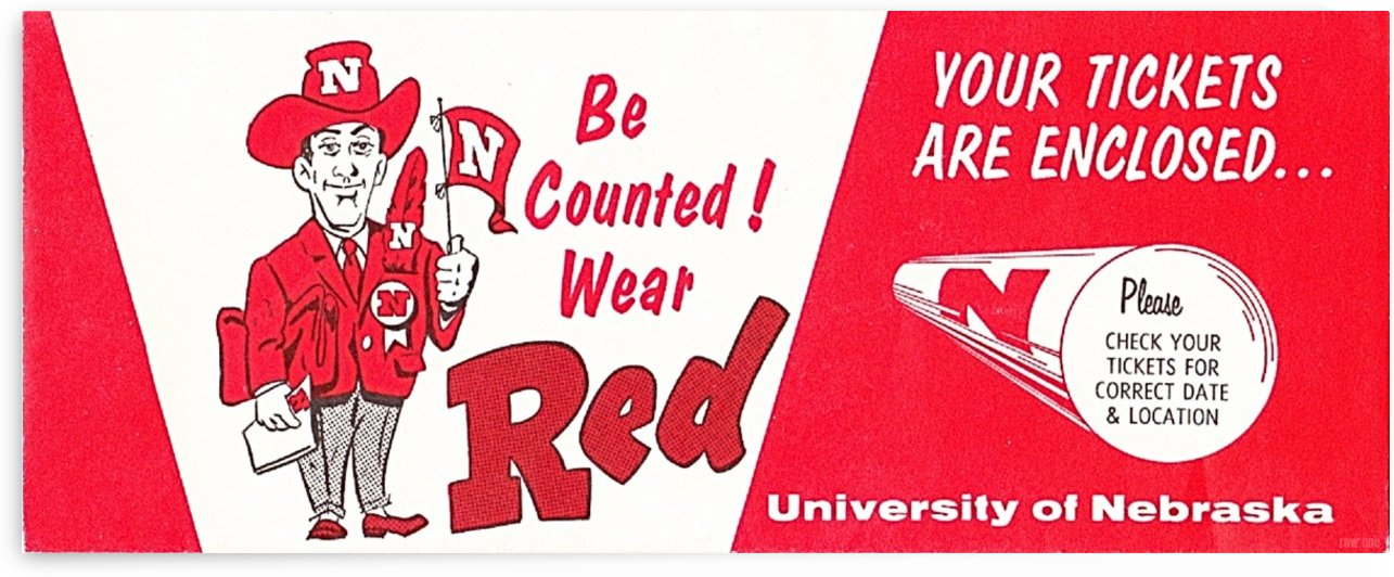 1974 Nebraska Cornhusker Ticket Art by Row One Brand