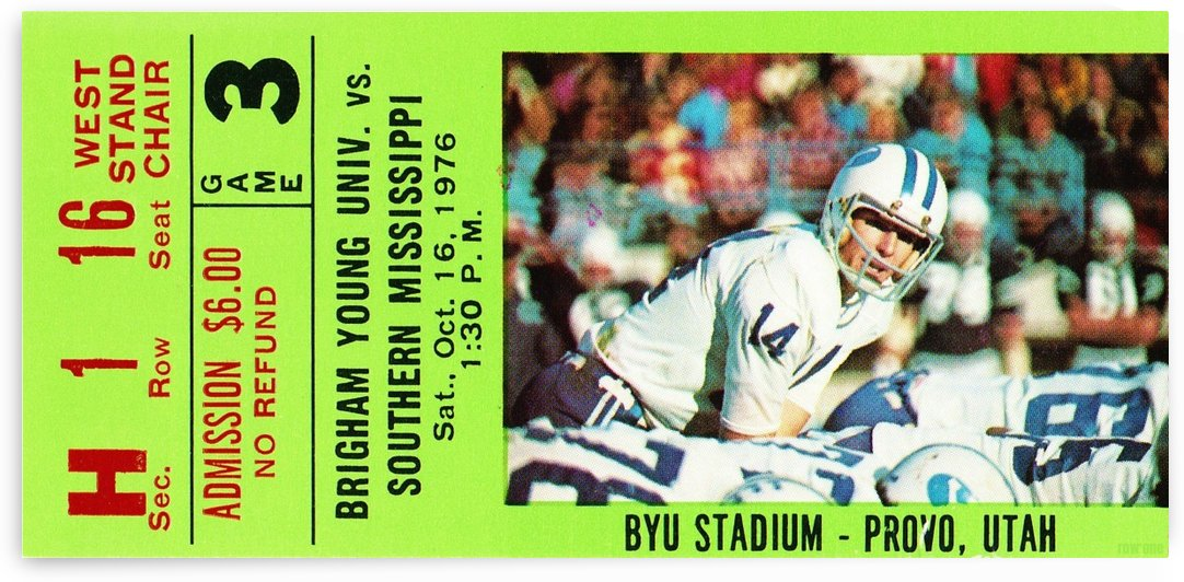 1976 BYU Cougars Ticket Stub by Row One Brand