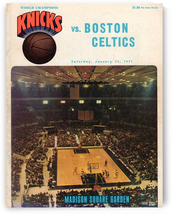 1971 vintage sports art new york knicks basketball program cover art by Row One Brand